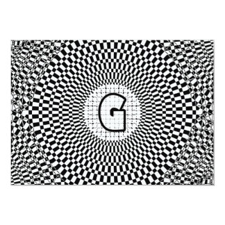 Monogramme G d'illusion optique Carton D'invitation 12,7 Cm X 17,78 Cm