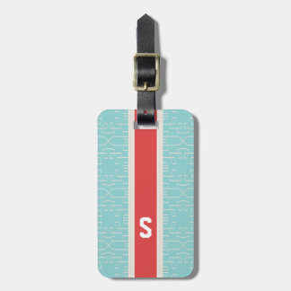 Monogramme géométrique de motif d'abrégé sur chic étiquette à bagage