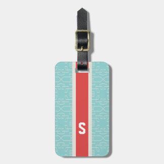 Monogramme géométrique de motif d'abrégé sur chic étiquettes bagages