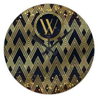 Monogramme géométrique fascinant de motif d'art grande horloge ronde