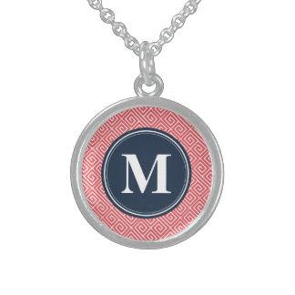 Monogramme grec rose de marine de motif principal collier en argent