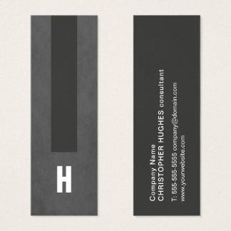 Monogramme gris de consultant en matière de rayure mini carte de visite