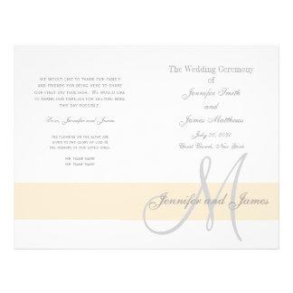 Monogramme gris du programme | de mariage de prospectus 21,6 cm x 24,94 cm