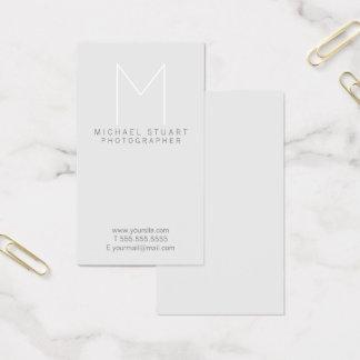 Monogramme gris minimaliste moderne simple cartes de visite