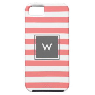 monogramme gris moderne avec les rayures de corail coque tough iPhone 5