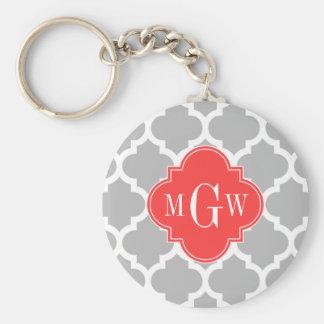 Monogramme initial blanc gris du rouge 3 de corail porte-clé rond