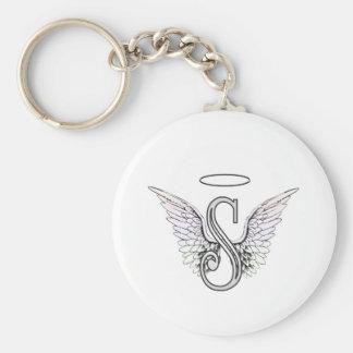 Monogramme initial de la lettre S avec des ailes e Porte-clé Rond