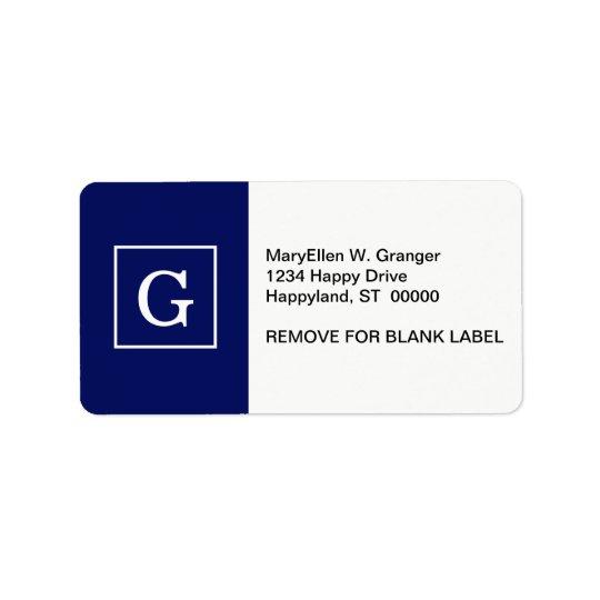 Monogramme initial encadré par blanc de bleu étiquette d'adresse
