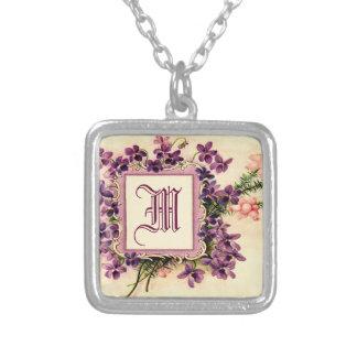 monogramme initial floral et nommé vintage mignon bijouterie fantaisie