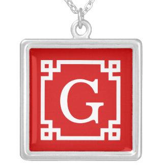 Monogramme initial principal grec blanc rouge du c bijouterie personnalisée