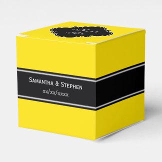 Monogramme jaune et noir de nom de ruban boites de faveur