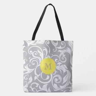 Monogramme jaune gris frais de remous de papier tote bag