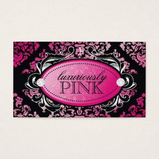 Monogramme luxueusement rose de la damassé 311 cartes de visite