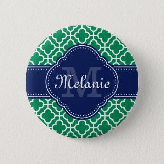 Monogramme marocain blanc de marine de motif de badge rond 5 cm
