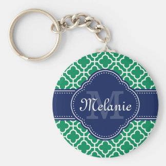 Monogramme marocain blanc de marine de motif de porte-clés