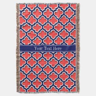 Monogramme marocain rouge de corail de nom de couvre pied de lit