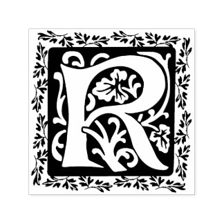 Monogramme médiéval floral élégant de l'initiale R Tampon Auto-encreur