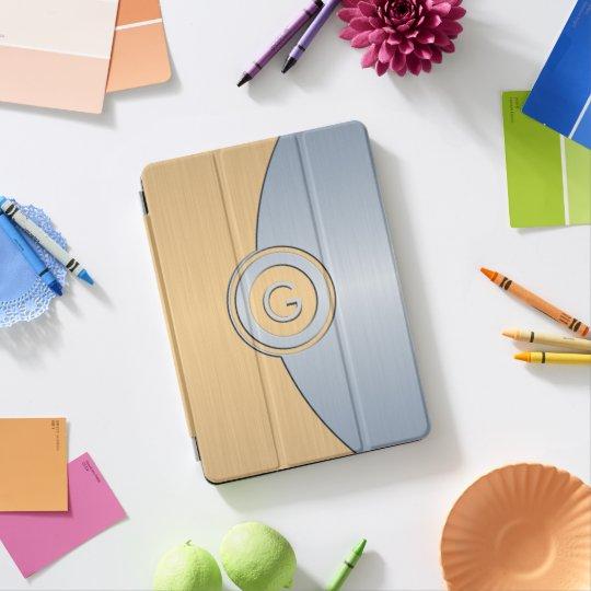 Monogramme moderne d'or et d'argent protection iPad pro