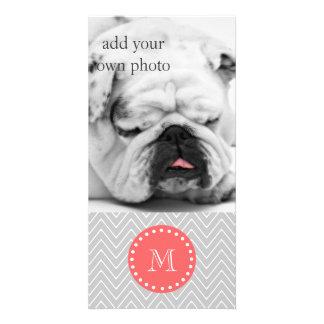 Monogramme moderne gris et de corail de coutume de photocarte personnalisée