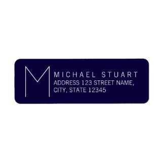 Monogramme moderne simple de bleu marine et de étiquette d'adresse retour