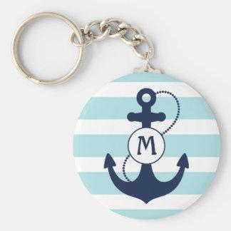 Monogramme nautique d'ancre porte-clé rond