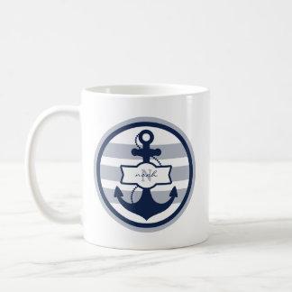 Monogramme nautique de bleu marine mug