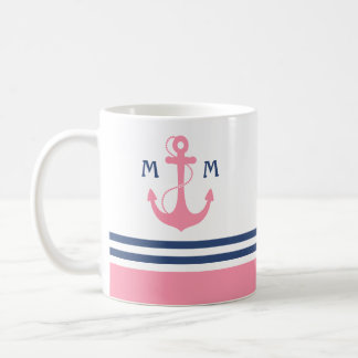 Monogramme nautique mug blanc
