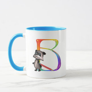 Monogramme nerd mignon B de raton laveur Mug