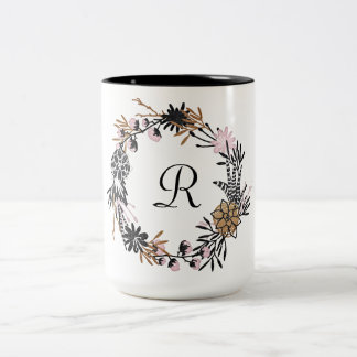 Monogramme noir assez rose de guirlande d'or tasse 2 couleurs