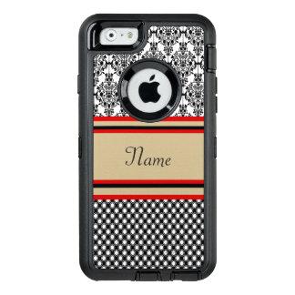 Monogramme noir de damassé coque OtterBox iPhone 6/6s