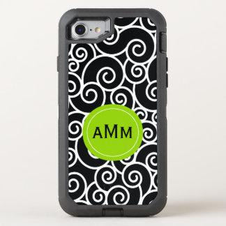 Monogramme noir de vert de chaux coque otterbox defender pour iPhone 7