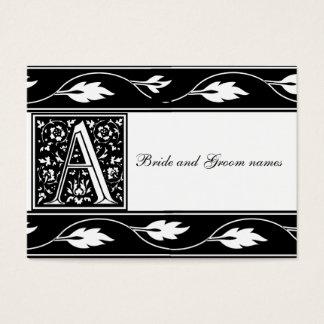 Monogramme noir et blanc cartes nuptiales d'un