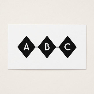 Monogramme noir et blanc de trois diamants cartes de visite