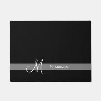 Monogramme noir et blanc élégant avec le nom paillasson