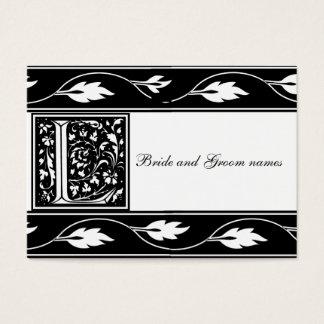 Monogramme noir et blanc L carte nuptiale