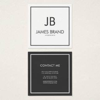 Monogramme noir et blanc minimaliste carré carte de visite carré