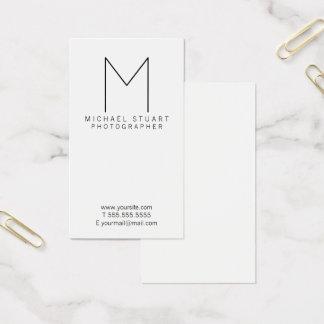 Monogramme noir et blanc minimaliste moderne cartes de visite
