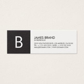 Monogramme noir et blanc professionnel mini carte de visite