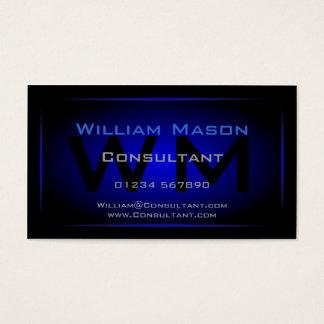Monogramme noir et bleu-foncé frais - carte de