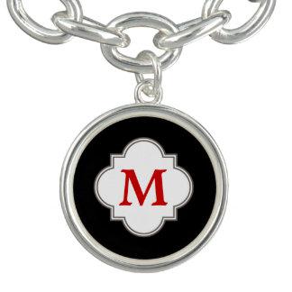 Monogramme noir et rouge bracelet avec breloques