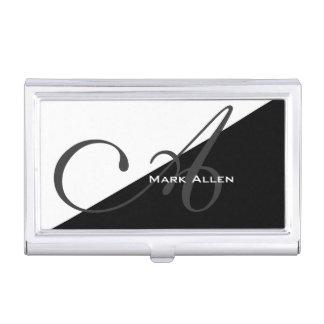 Monogramme noir moderne de base de triangle étuis pour cartes de visite