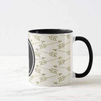 Monogramme noir tribal des flèches | mug