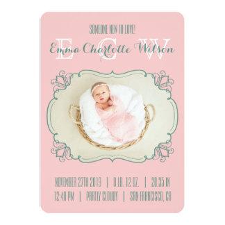 Monogramme nouveau-né de photo de bébé de carton d'invitation  12,7 cm x 17,78 cm