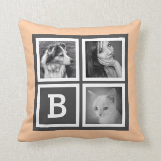 Monogramme orange et gris adorable de photo oreiller