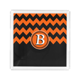 Monogramme orange et noir lumineux de Chevron | Plateau En Acrylique