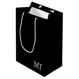 Monogramme personnalisé moderne sac cadeau moyen