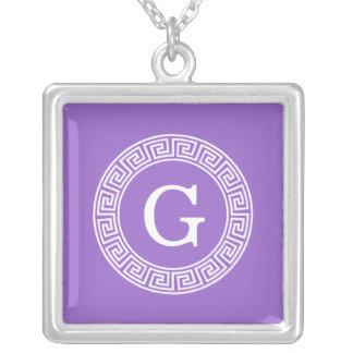Monogramme principal grec blanc d'initiale de pendentif carré