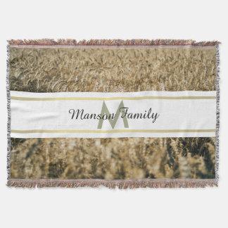 Monogramme rayé d'or de rectangle de champ de blé couvre pied de lit
