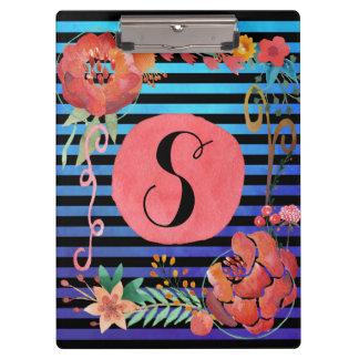 Monogramme rayé floral d'aquarelle