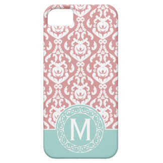 Monogramme rose bleu de damassé iPhone 5 case